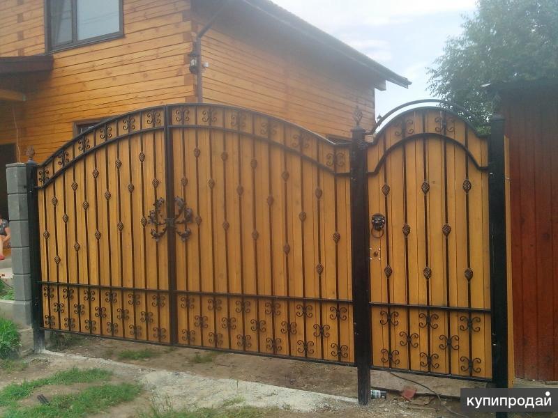 Ворота и заборы из дерева фото
