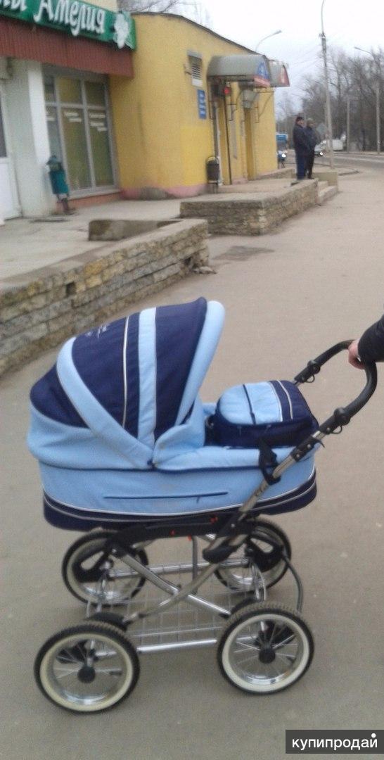 Детская коляска Adamex Classic 2 в 1 голубая/синяя