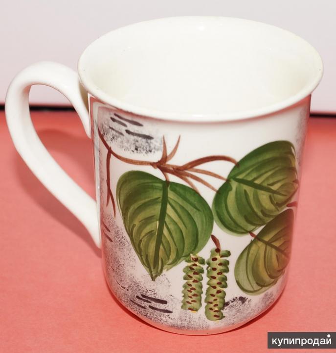 Чашка (кружка) с березовыми листочками