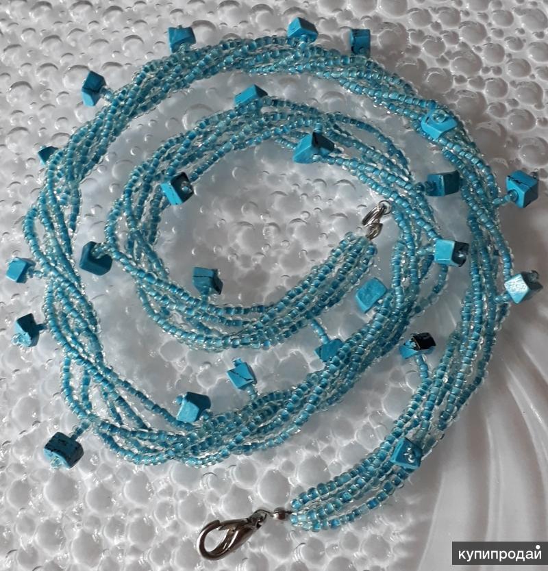 Бусы и сережки из бирюзы с голубым бисером