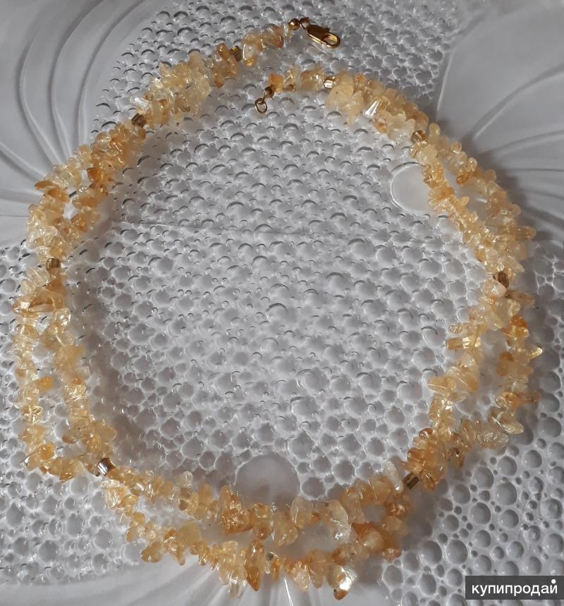 Колье из натуральных камней (цитрина)