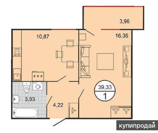 1-к квартира, 39 м2, 2/7 эт.