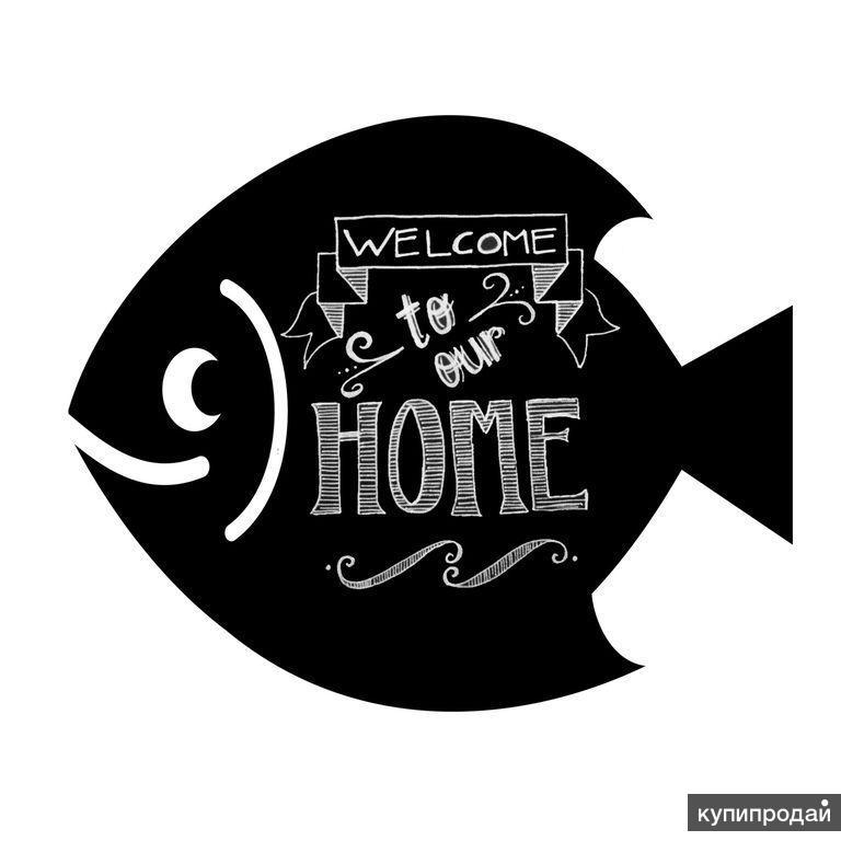 Магнитно меловая доска Рыба