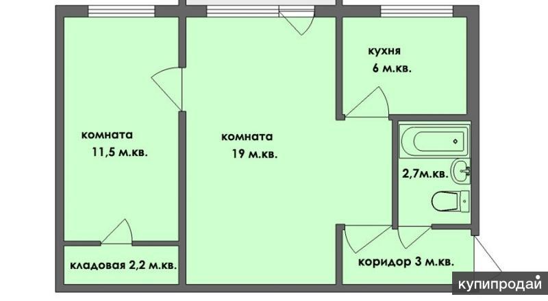 2-к квартира, 46 м2, 1/2 эт.