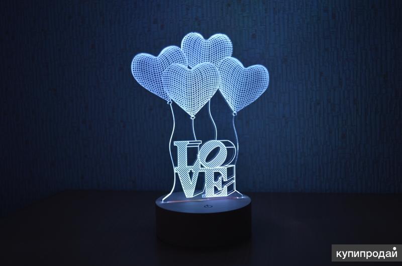 3D светильник с деревянной основной - шарики (LOVE)