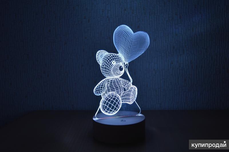 3D светильник с деревянной основной - мишка с шариком