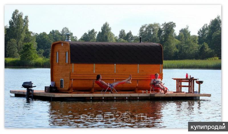 Плавучий пирс, плавучая площадка для бани, отдыха, рыбалки