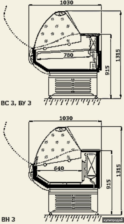 Холодильная витрина Ариель ВС 3 УН (угол наружн)