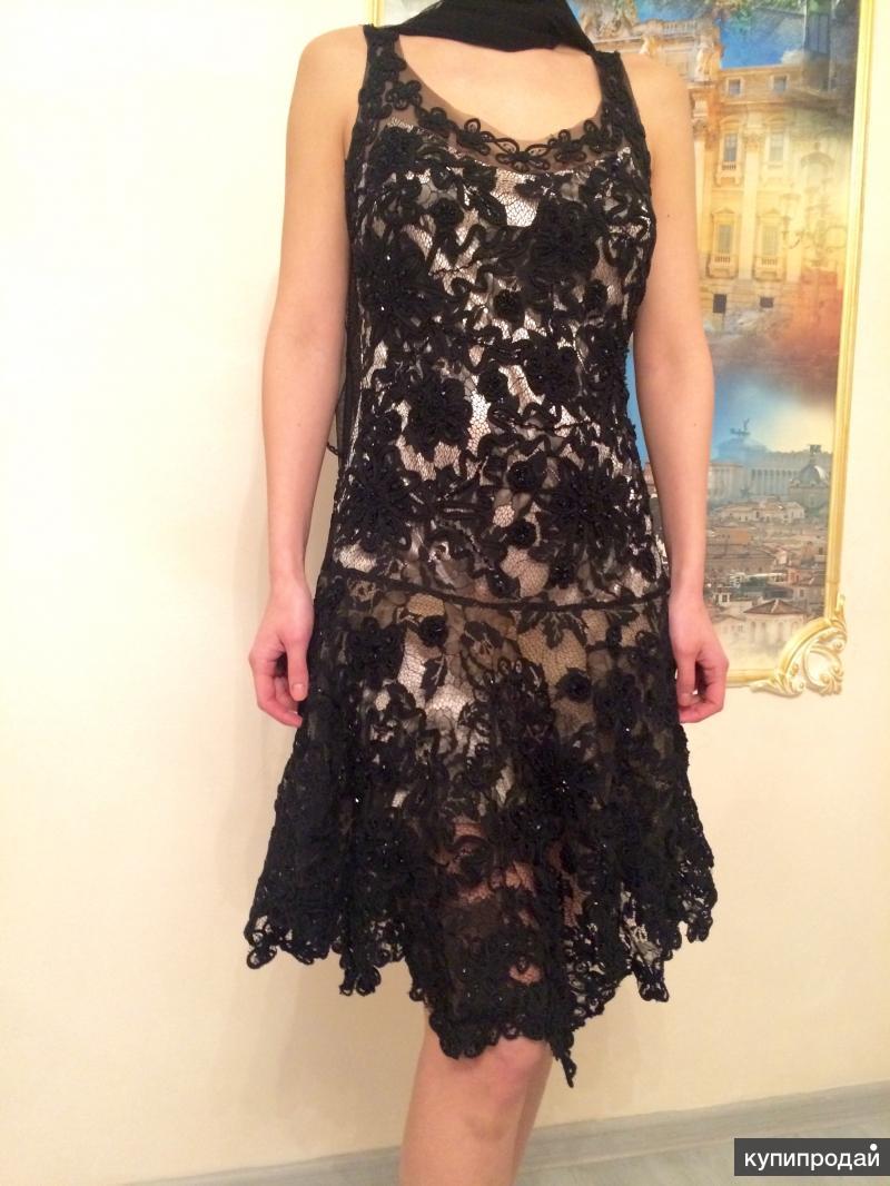 Продам коллекционное коктельное платье с ручной вышивкой
