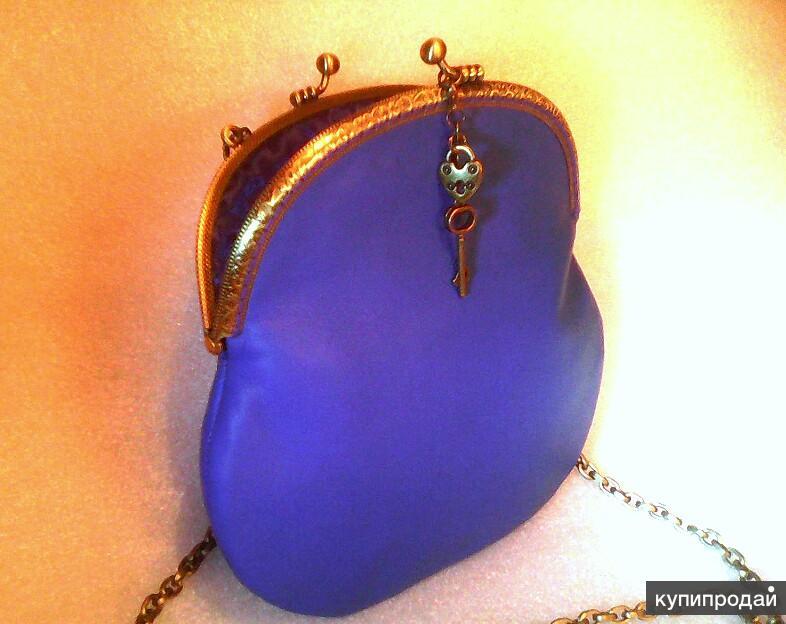 Сумка кожаная авторская синяя с фермуаром и цепочкой