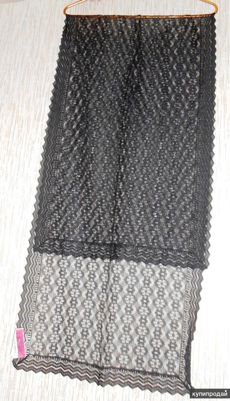 Шарф новый гипюровый чёрный