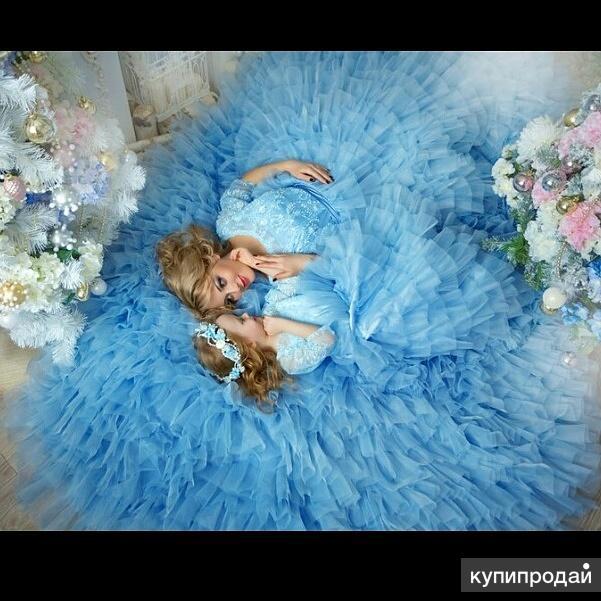 Платье облако, family look, мама+дочь