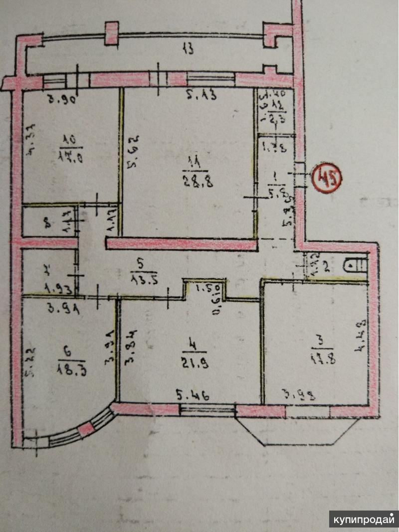 Продам 4-к квартиру, 144 м2, 8/10 эт. в центре Симферополя
