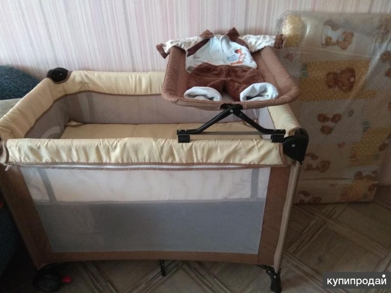 Продам кровать манеж + ортопедический матрас