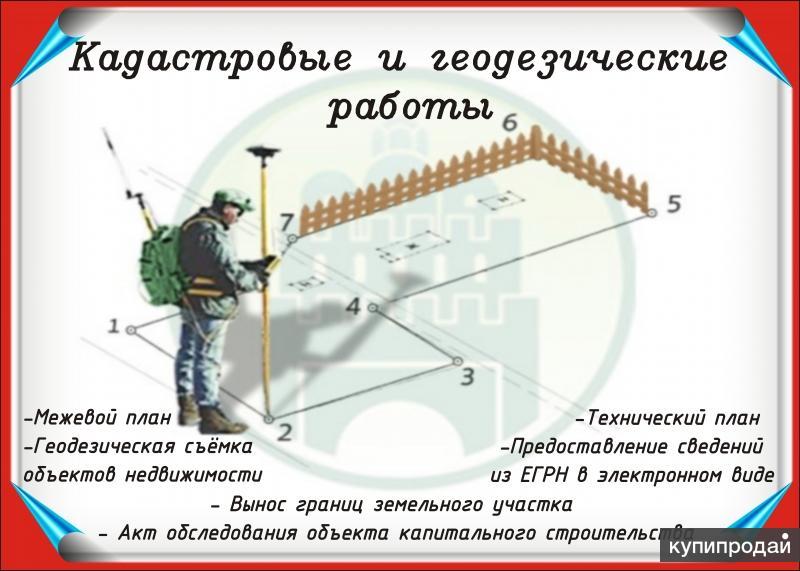 Вынос границ зем.участка, межевание, техплан, акт обследования