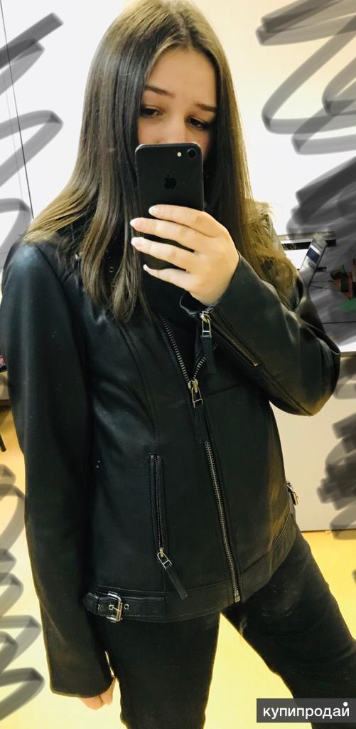 Кожаные куртки черная и голубая, 42-44