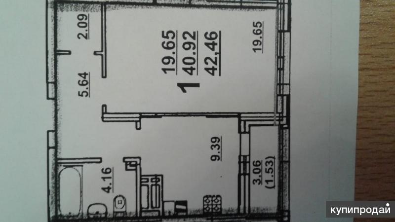 1-к квартира, 42 м2,на  8/19 эт.ЖК Возрождение дом сдан