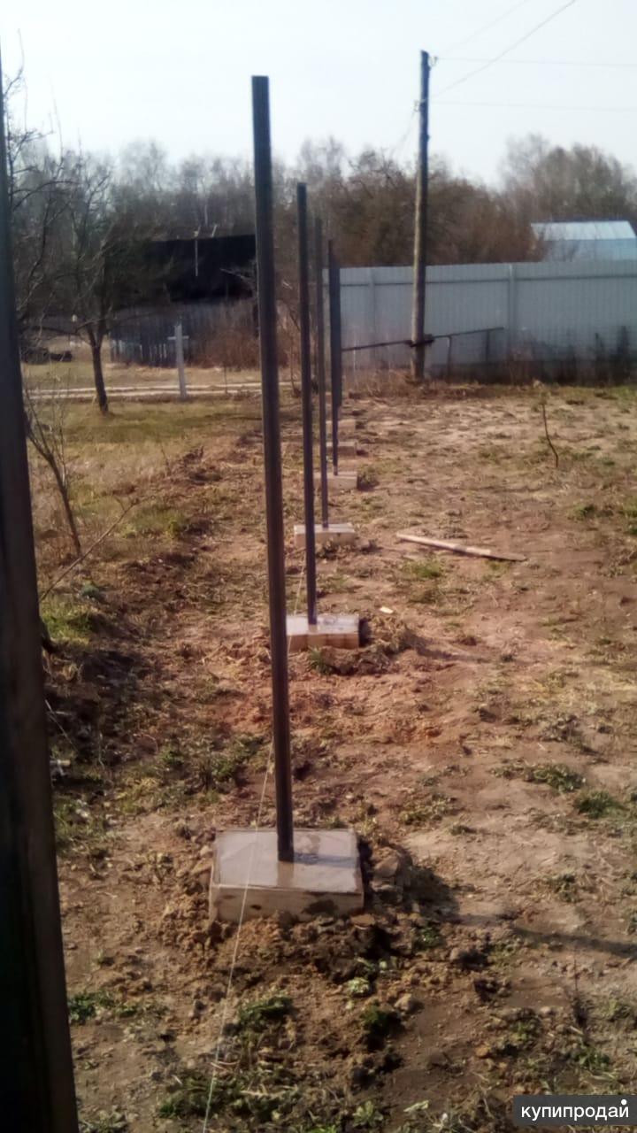 Установка столбов под заборы