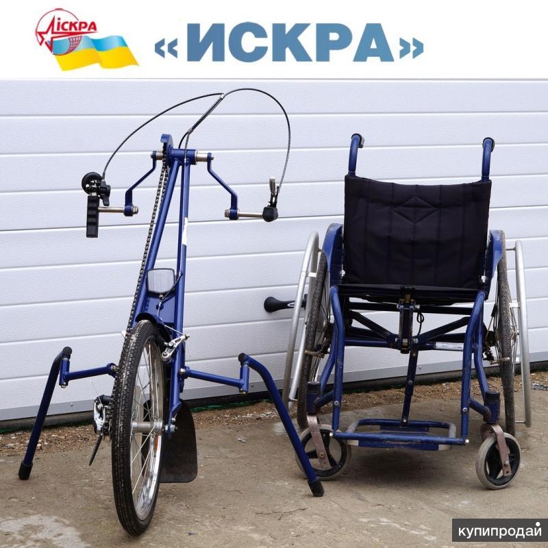 """Инвалидная коляска с велоприставкой КСИ-1-2-3П """"Искра"""""""