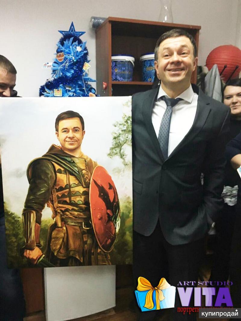 Заказать портрет по фото на холсте в Москве