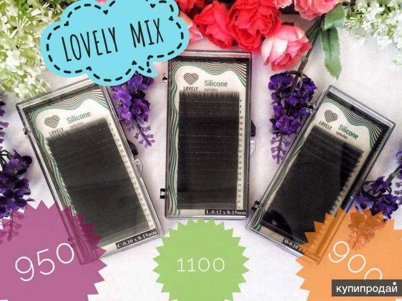 Ресницы черные Lovely серия Silicone Eyelashes — 20 линий — MIX