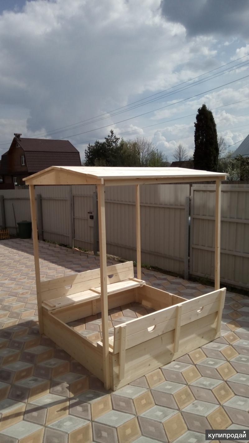 Песочница с крышкой и крышей Kinder-Garden