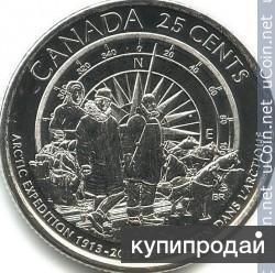 25 центов Канада 2013 100 лет канадской арктической экспедиции