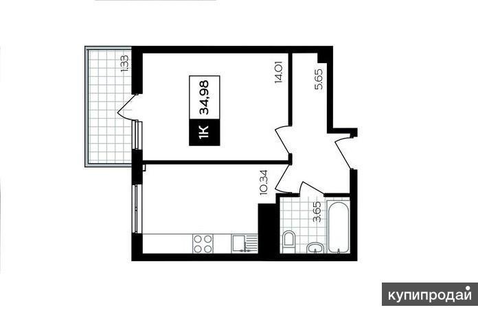 Собственник!!! Сочи 1-к квартира, 35 м2, 10/16 эт.