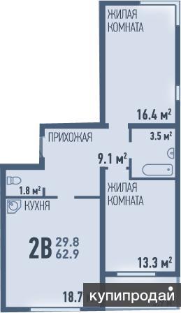 Ул. Пермякова. 2-комнатная квартира, 62,9 кв.м. ЖК «Ожогино»