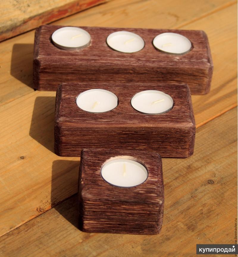 Набор деревянных подсвечников (ручная работа)