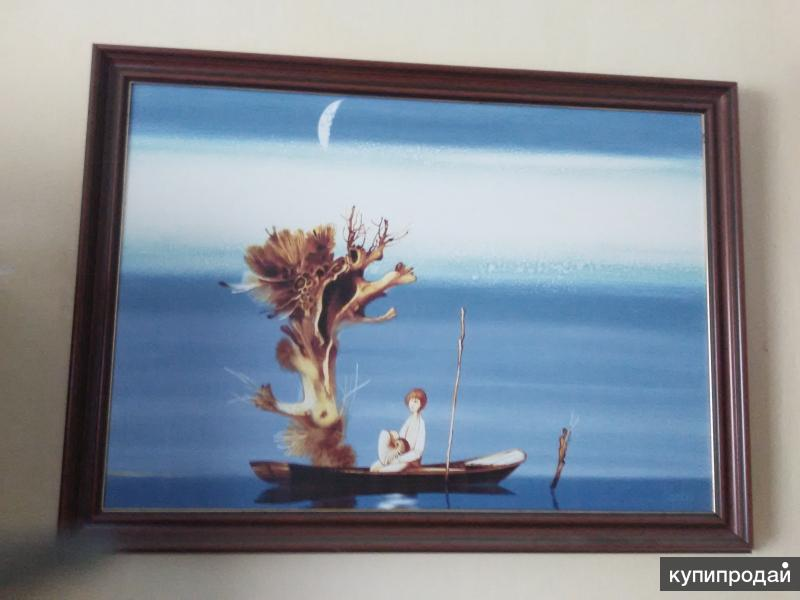 Картина Воржева С.Д, мальчик в лодке, подлиник