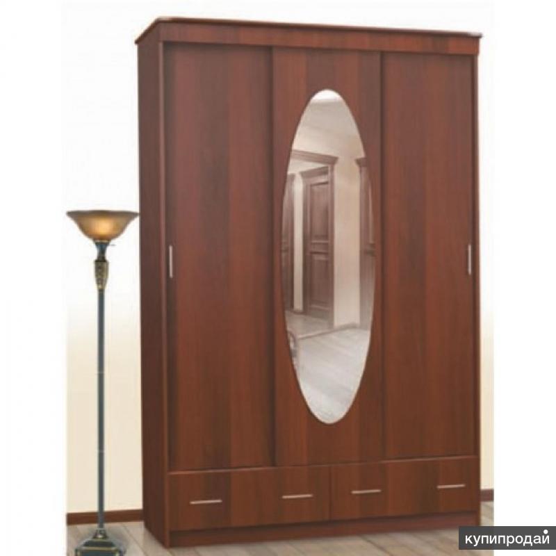 Шкаф-Купе № 5 с овальным зеркалом Орех