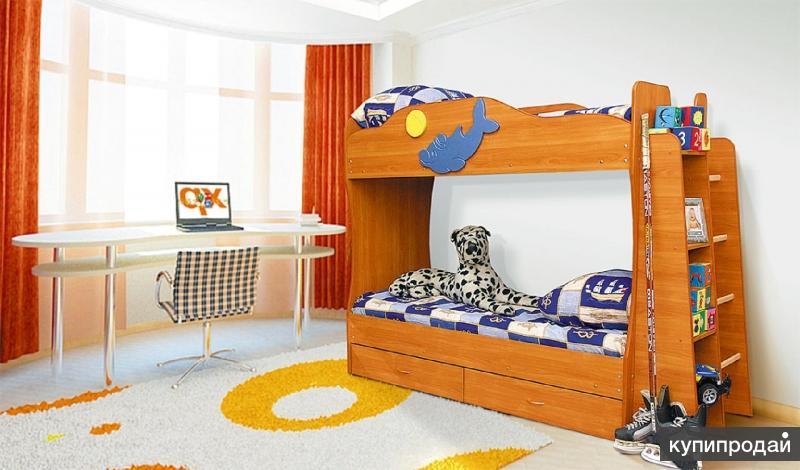 Детская двухярусная кровать Вишня оксфорд