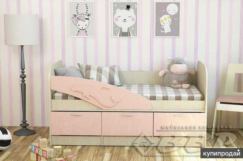 Детская кровать Дельфин Белфорд/Розовый глянец 1.6 метра