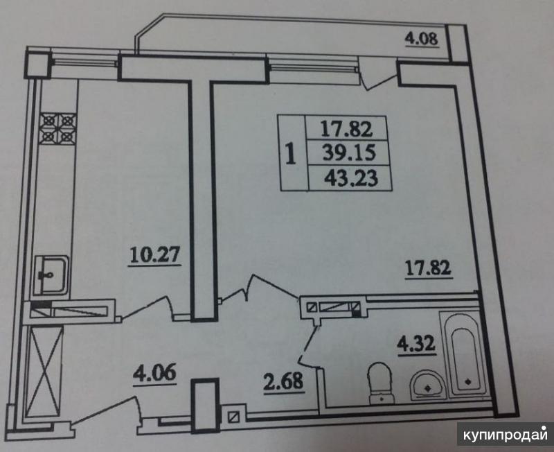 1-к квартира, 43 м2, 6/8 эт.