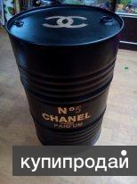 """Бочка железная 200 литровая дизайнерская """" Chanel №5"""" Черная"""