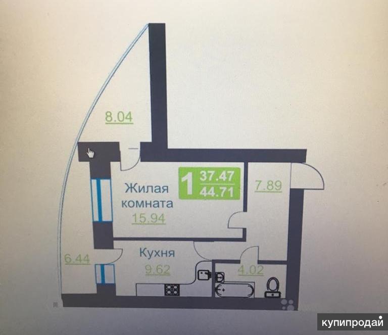 1-к квартира, 45 м2, 2/17 эт.