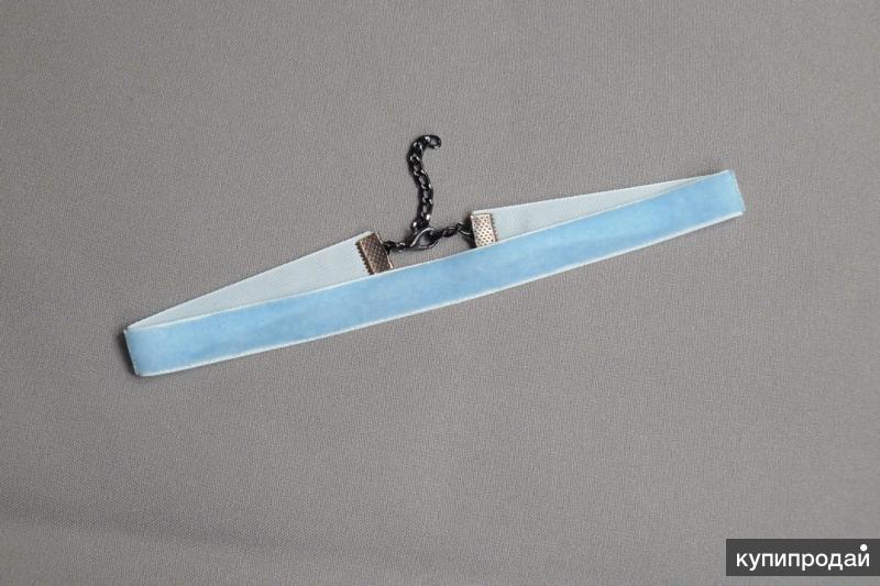 Чокер на шею бархатный нежно-голубой N195