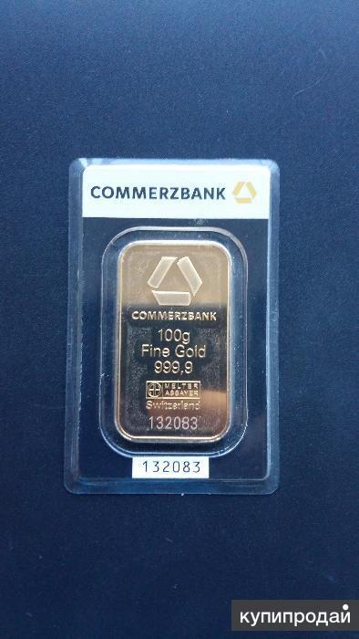 Банковский слиток 100 гр. Золото 999.9 проба
