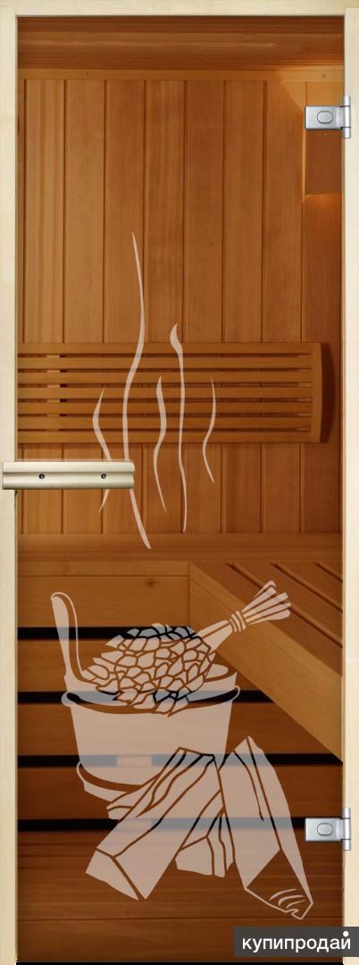 Стеклянная дверь для бани и сауны с рисунком