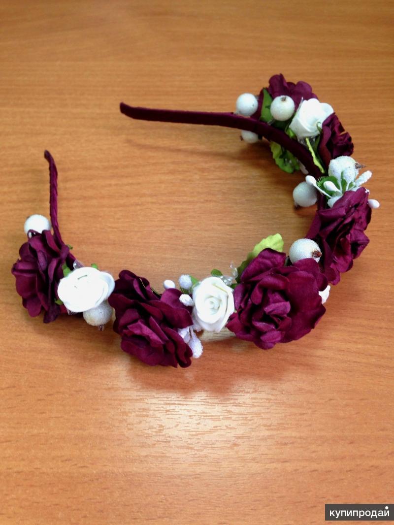 Украшение на голову веночек ободок с цветами