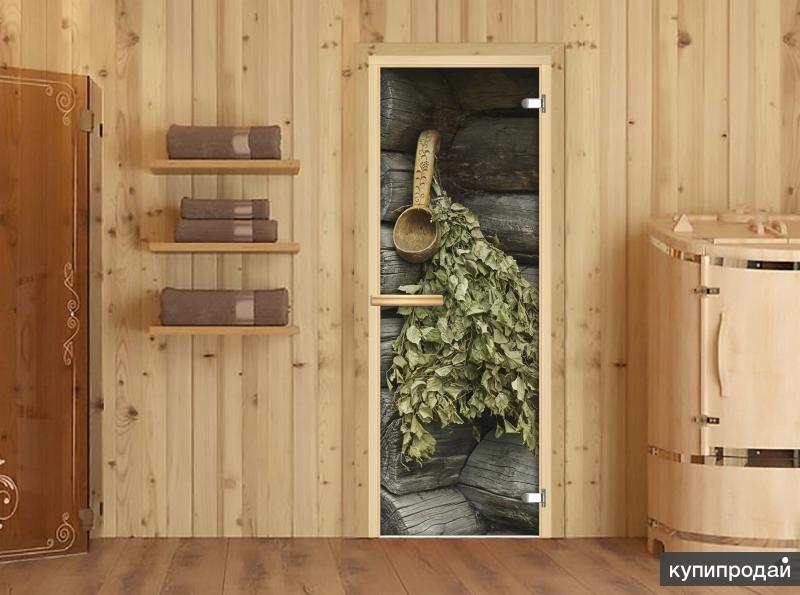 Дверь для сауны стеклянная с фотопечатью