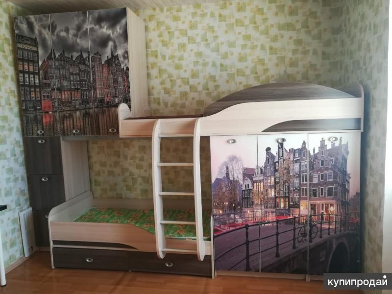 Продам набор корпусной детской мебели с 2х ярусной кроватью, б/у. В отличном сос