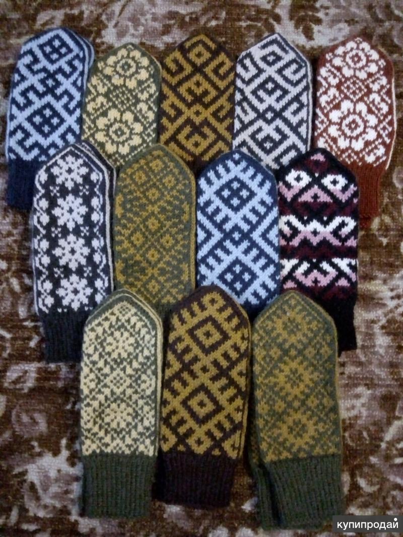 Варежки ручной вязки