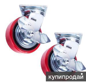 Колесо поворотное с боковым тормозом полиуретан/маталл TOR (C550B/PU1540CB3ra/T