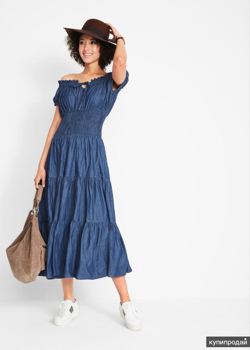 Платье джинсовое, летнее, макси