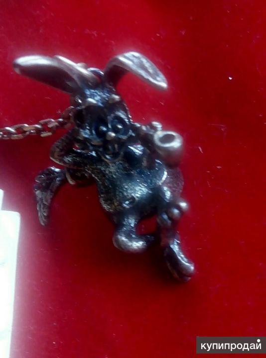 Брелок из серебра кролик