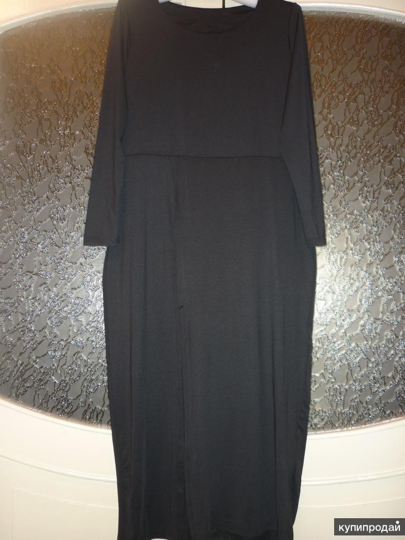Новое длинное чёрное платье