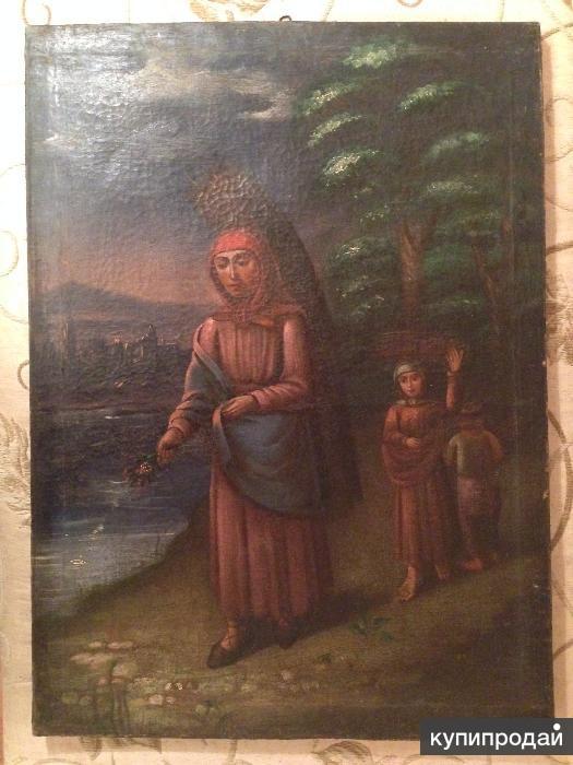 """Картина Нико Пиросмани (Нико Пиросманашвили) """"Женщина с хворостом"""""""