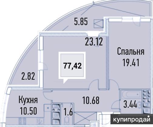 2-к квартира, 77 м2, 7/20 эт.ЖК Империал в Краснодаре